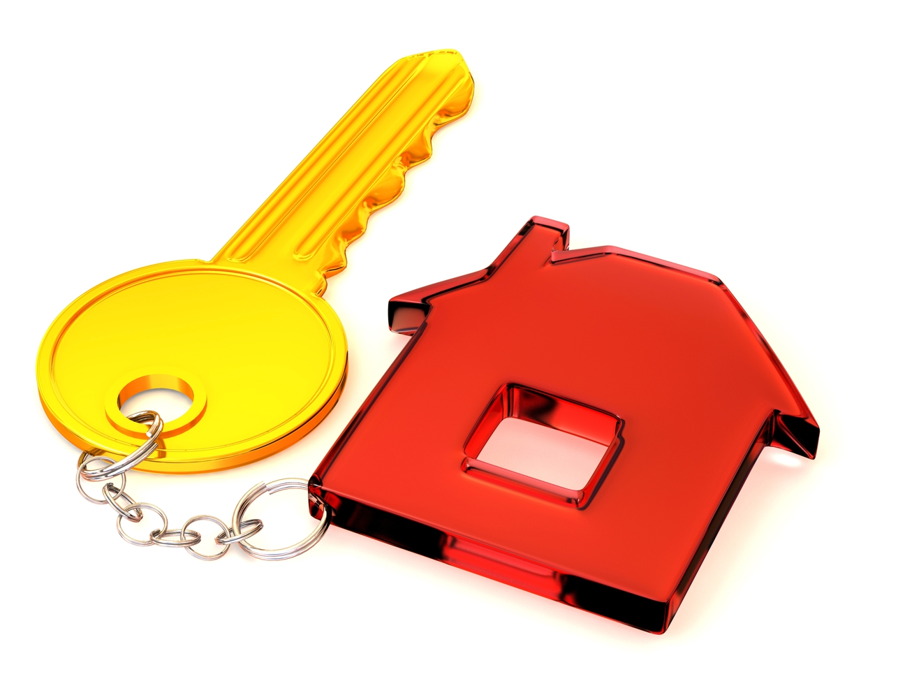 A set of house keys, with a red house keychain and a yellow gold key