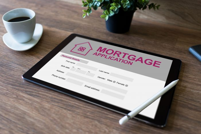 a digital mortgage application, plant and cup of coffee